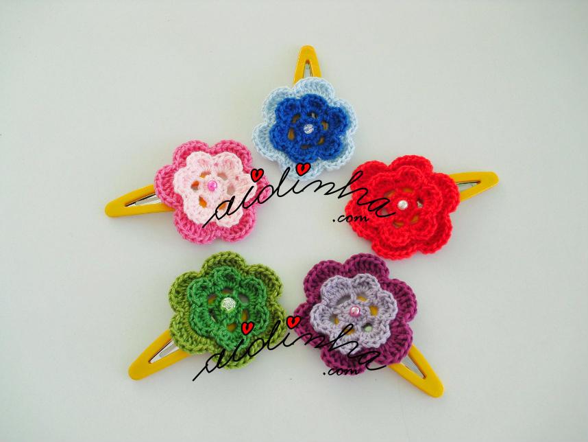 Conjunto de ganchos para cabelo, em crochet