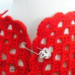 Casaco vermelho de crochet