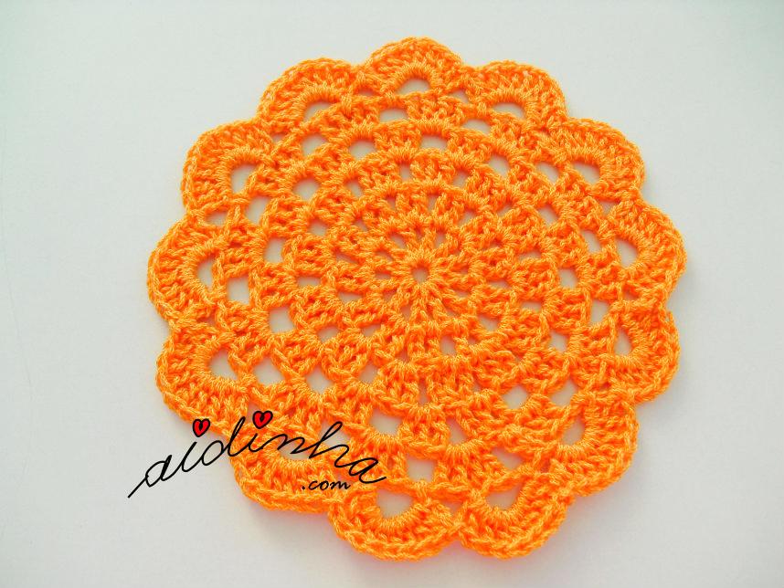 Foto do porta-copos de crochet, laranja