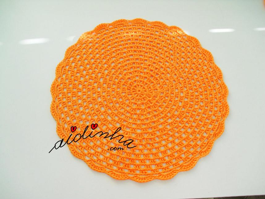 Individual de crochet, laranja