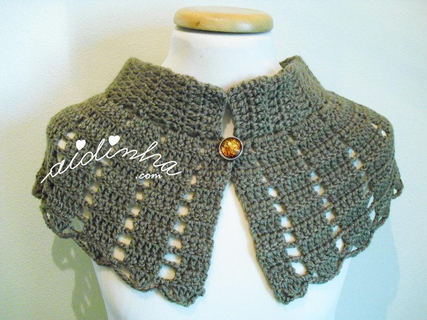 Pelerine em crochet, castanha