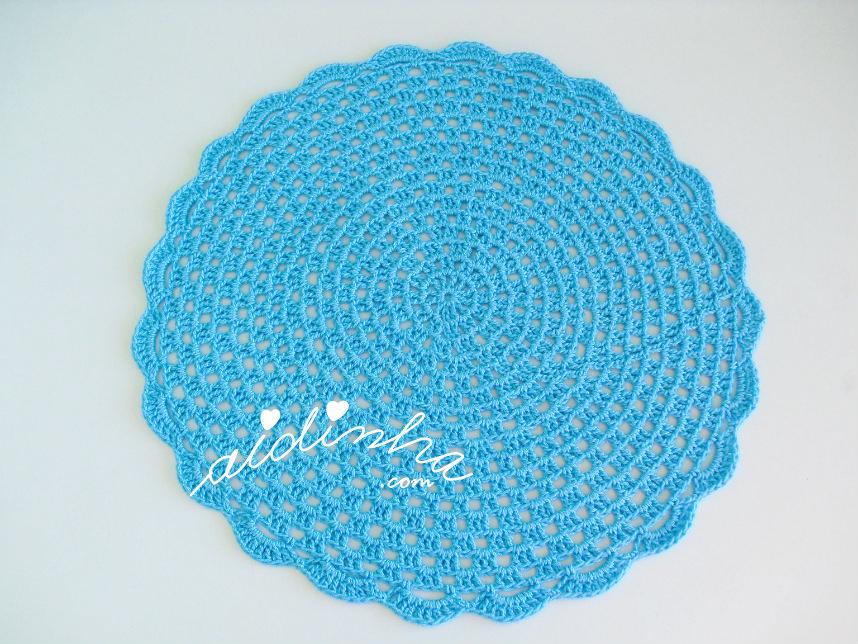 Foto do individual de crochet, turquesa