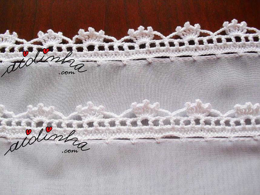 Foto do picô de crochet branco, da écharpe costumizada