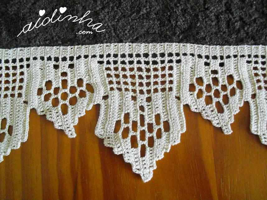 Foto do motivo de crochet do conjunto de toalhas de banho, castanho