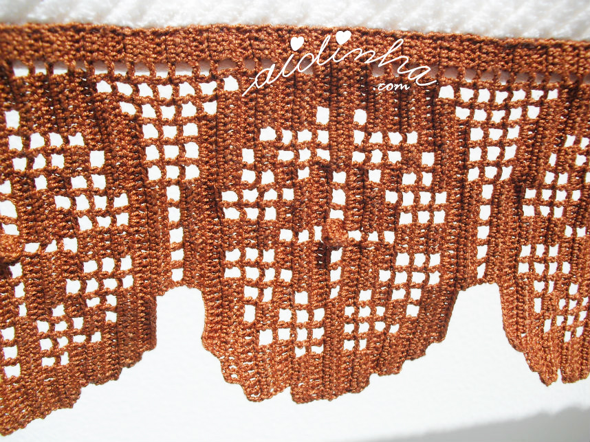 Foto do motivo de crochet do conjunto de toalhas de banho