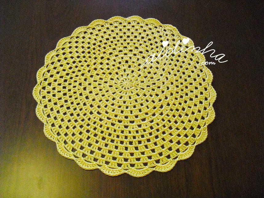 Foto do individual de crochet, amarelo