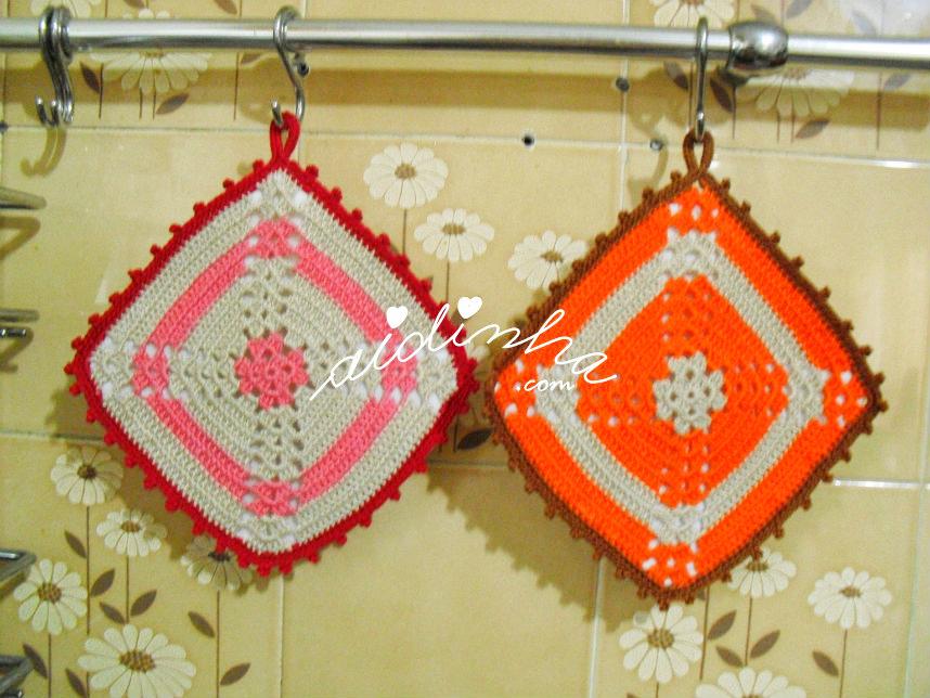 Conjunto de pagas ou agarradores, em crochet