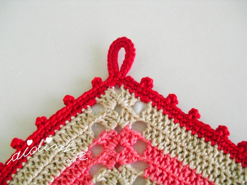 Foto da última volta e da argola de crochet