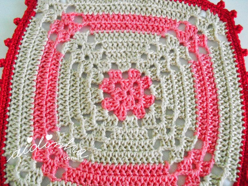 Foto da pega, em crochet, rosa