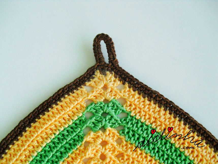 Foto da argola para pendurar da pega de crochet