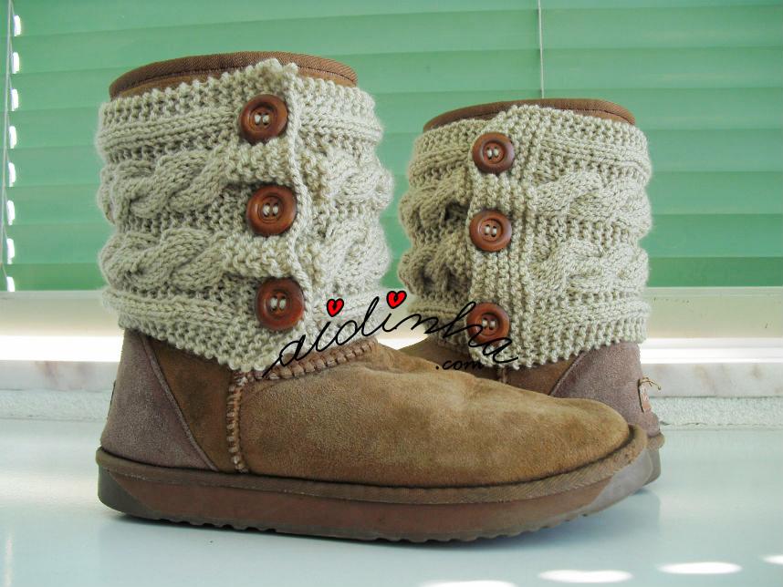 Caneleiras em tricô para botas
