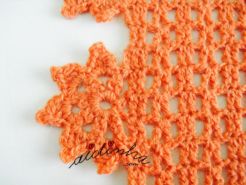 Pormenor da flor da gola de crochet com flores