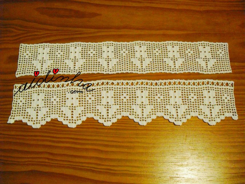Foto aproximada das barras de crochet, para cortinas