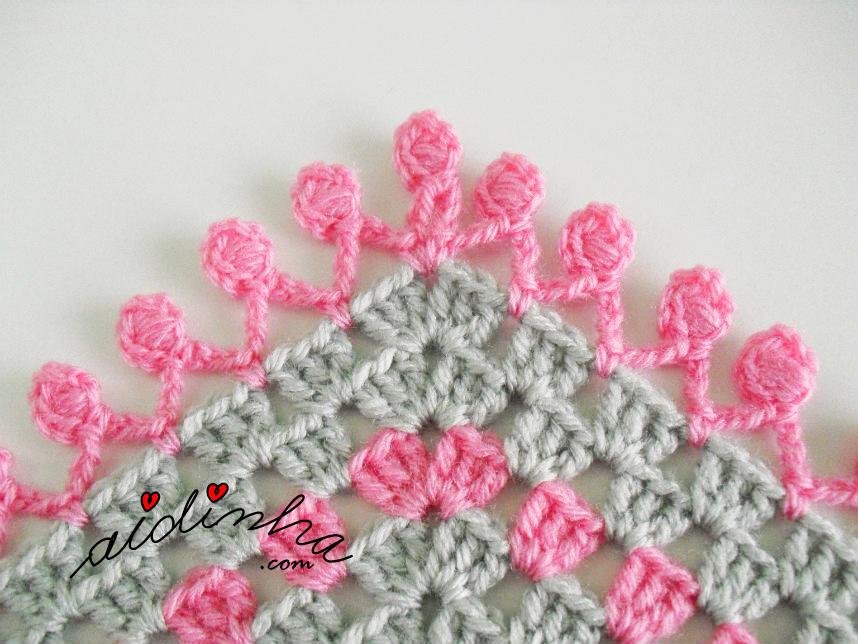 Foto da franja com ponto puf de crochet