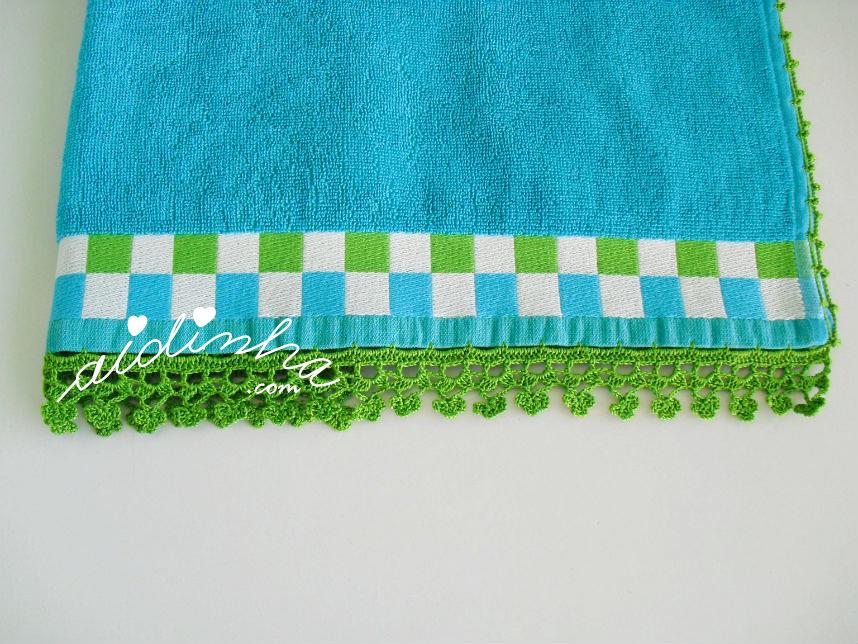 Foto geral do picô de crochet do pano de cozinha