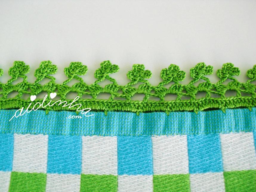 Foto do picô de crochet do pano de cozinha
