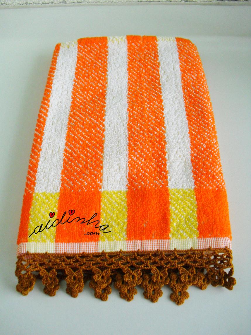 Pano turco para as mãos, com picô de crochet