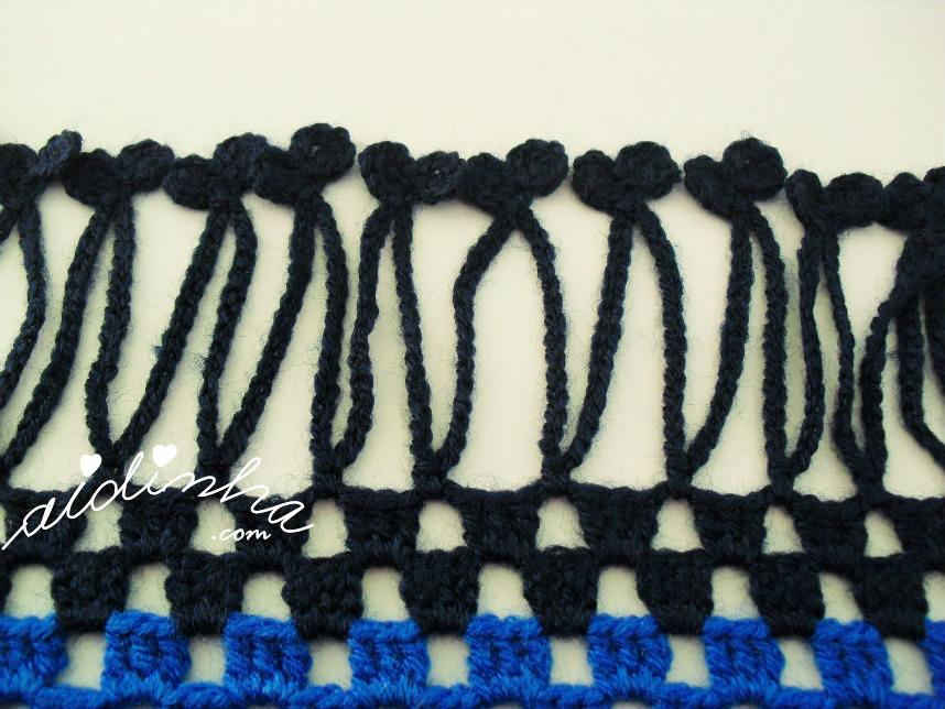 Foto da franja de crochet, azul escura