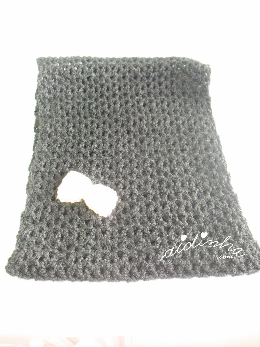 Gola de crochet, infantil, preta
