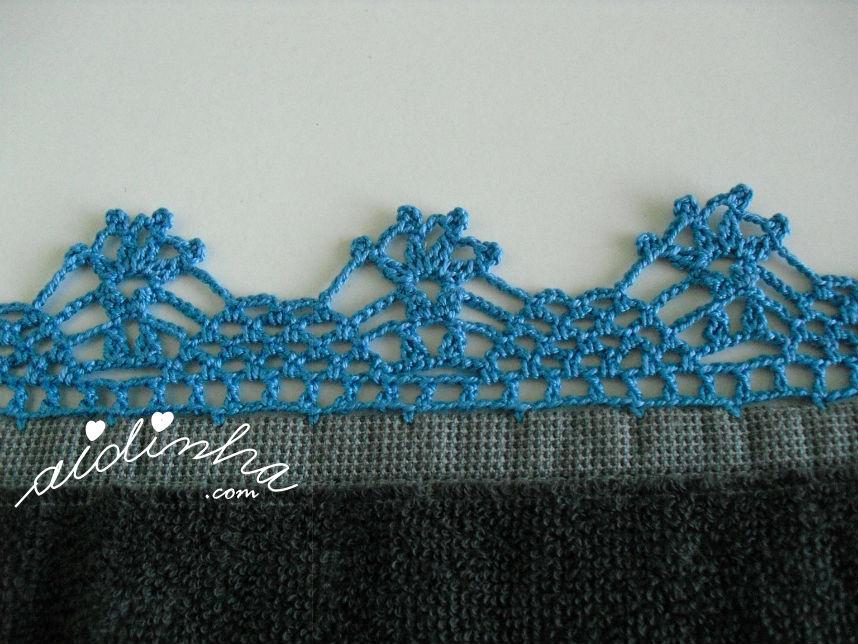 Picô azul de crochet do pano de cozinha