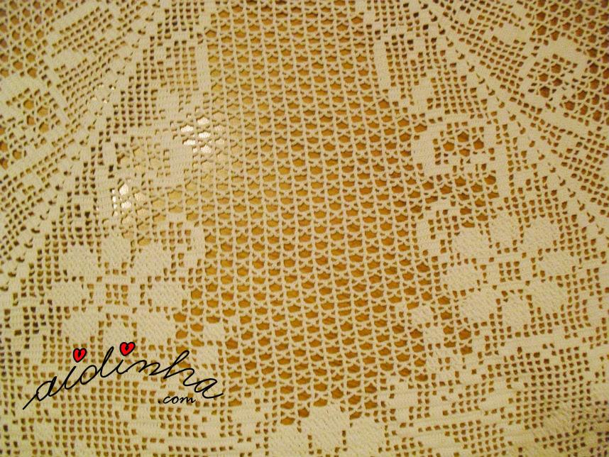 Foto do ponto de aranha da toalha redonda, de crochet