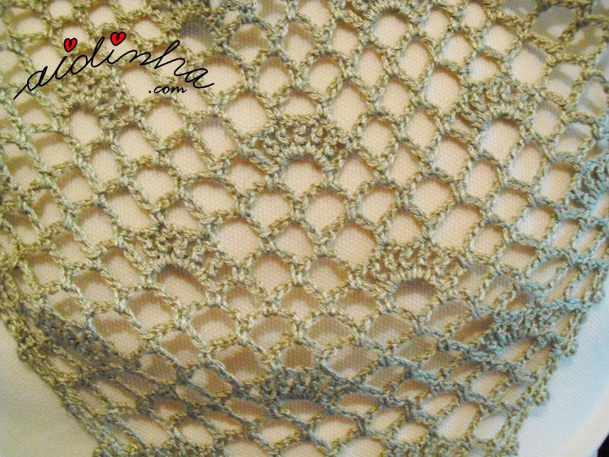Foto do ponto de crochet do baktu cor de bronze