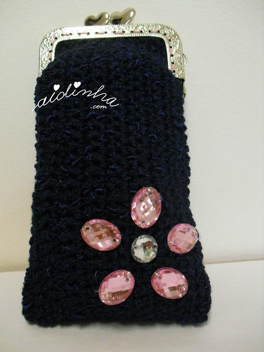 Bolsa de crochet, azul escura