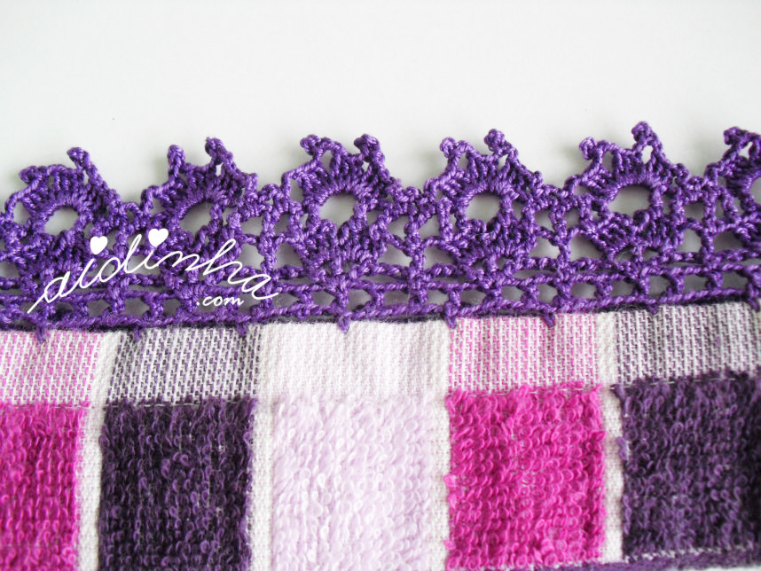 Foto do picô de crochet, roxo