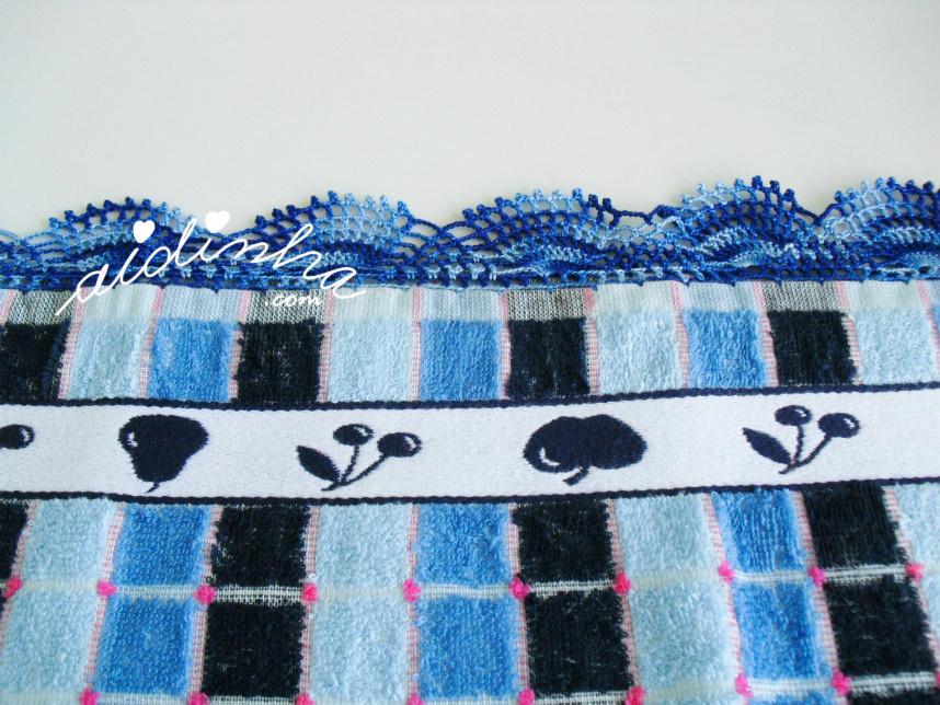 Imagem do picô de crochet, azul matizado
