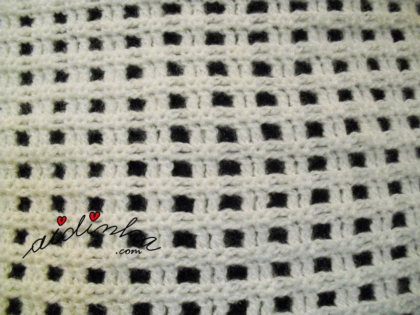 Ponto de crochet da gola branca