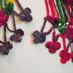 Cachecol de crochet, em lã multicolorida