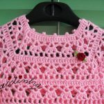 Vestido infantil de crochet, rosa bebé