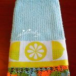 Pano turco de cozinha, com limões e crochet