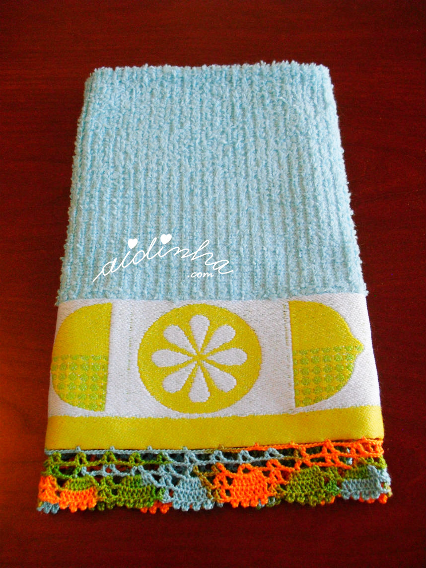 pano turco de cozinha com picô de crochet