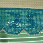 Conjunto de panos de cozinha, com barra de crochet, com coelhinhos