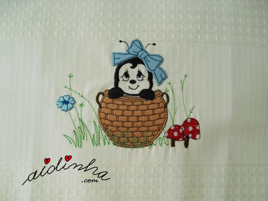 Foto do bordado, do conjunto de cozinha com crochet