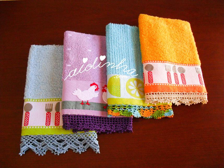 Conjunto panos de cozinha com crochet