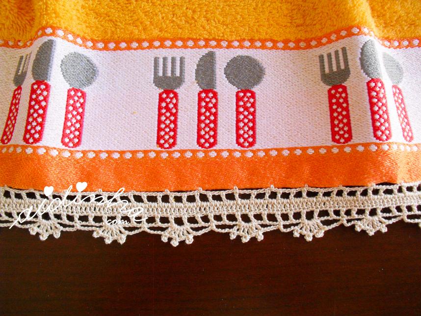 Pormenor do crochet do pano turco de cozinha