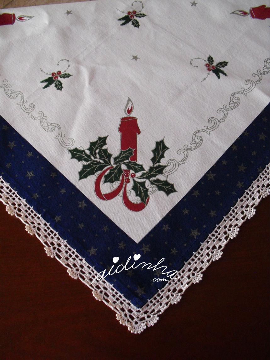 Canto da toalhinha de Natal com crochet