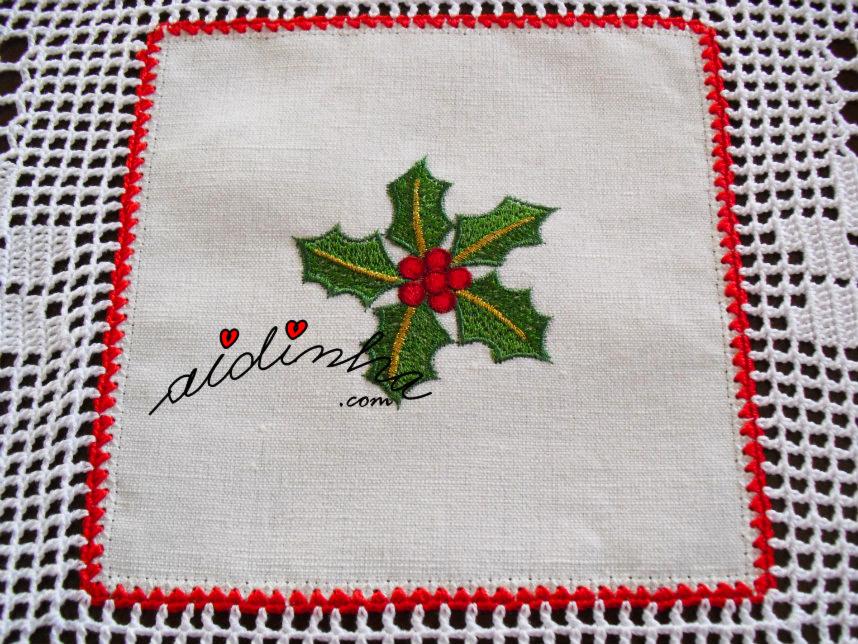 Bordado da toalha de Natal