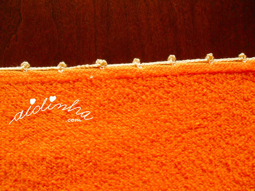 Foto do remate dos panos de cozinha com crochet