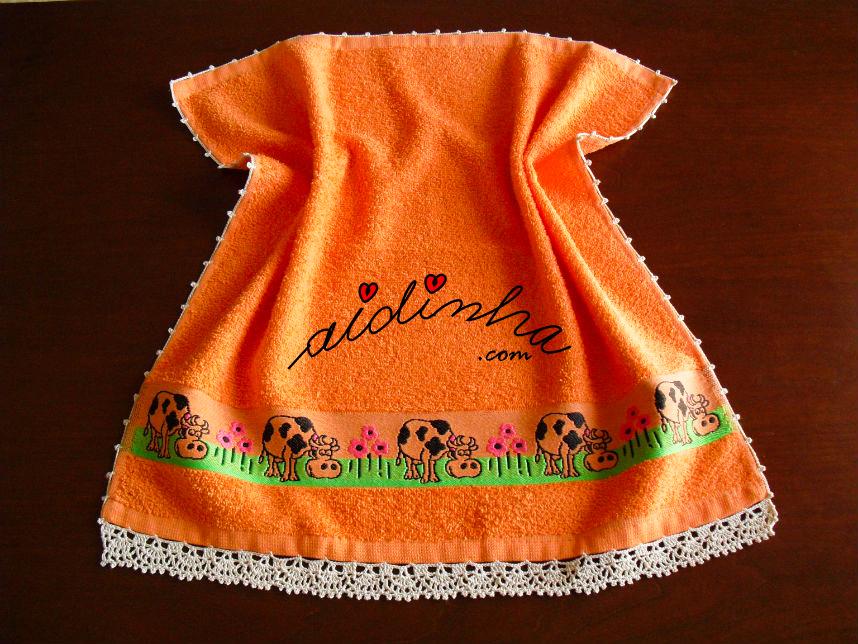 Pano turco de cozinha, laranja, com crochet