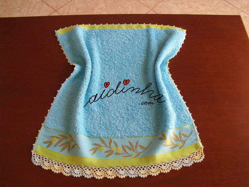 Pano turco de cozinha, azul, com crochet