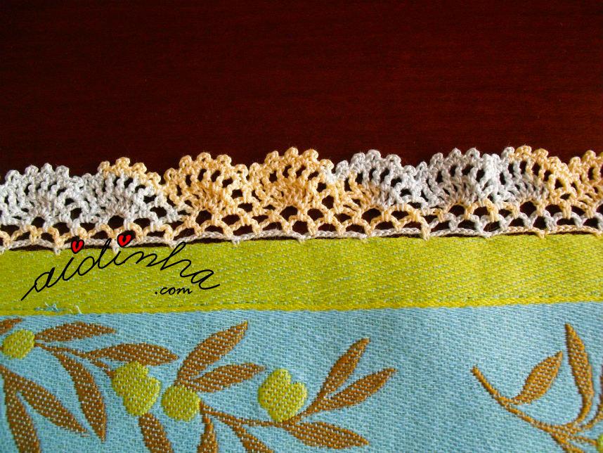 Pormenor do crochet do pano azul