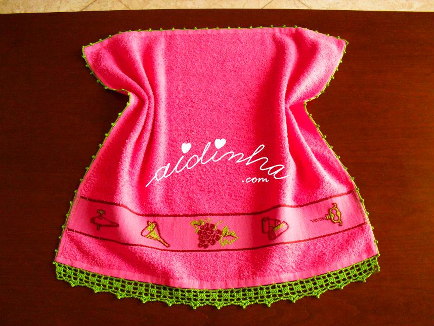 Pano turco de cozinha, rosa, com crochet