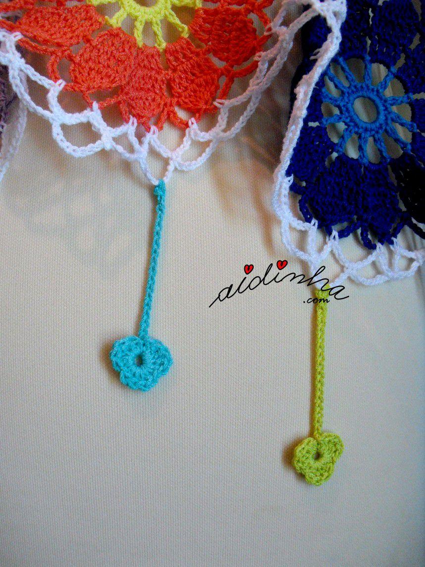 pendentes em forma de flor, em crochet da écharpe multicolorida