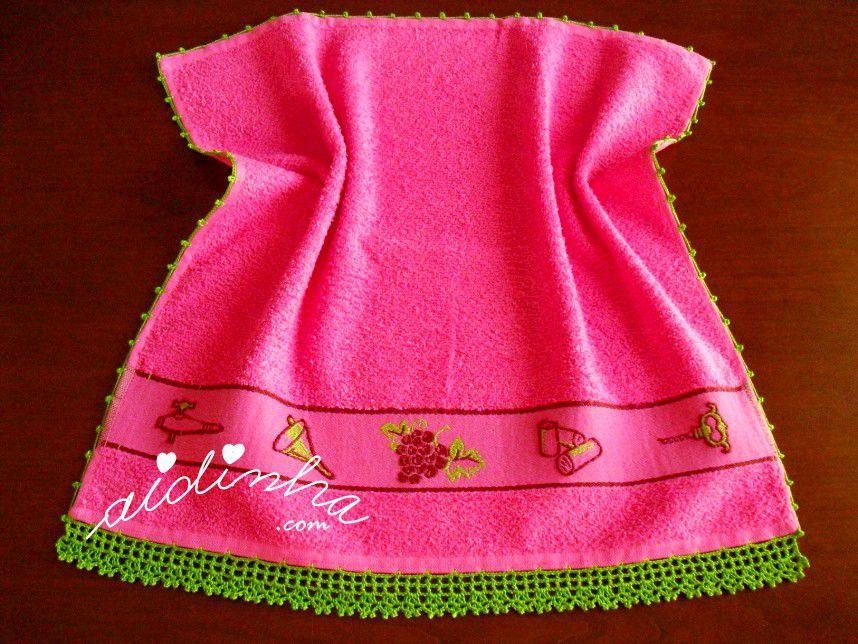 Pano turco de cozinha rosa, com crochet