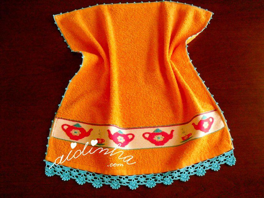 Pano turco de cozinha laranja, com crochet