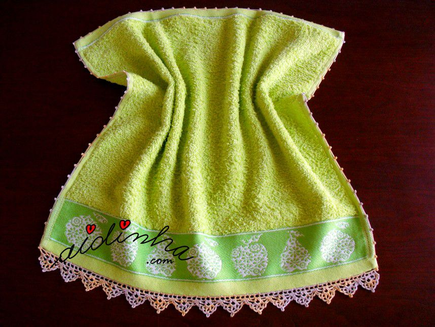 Pano turco de cozinha verde, com crochet