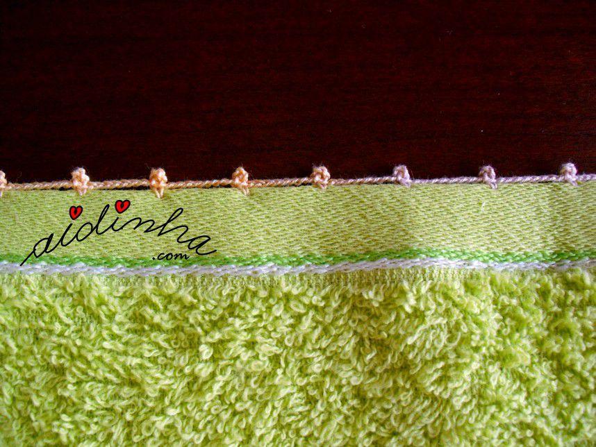 Pormenor do acabamento de crochet nos outros lados do pano